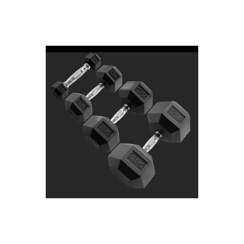 Haltères hexagonales caoutchouc